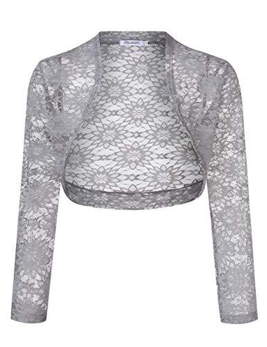 KOJOOIN Dames Bolero kant gebreid vest feestelijke blazer schouderjas cardigan top voor bruiloft avondjurk (verpakking MEHRWEG)