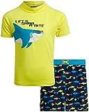 Mick Mack Boys' 2-Piece UPF 50+ Rash Guard and Swimsuit Trunks Set, Size 2T, Yellow Grab Bite