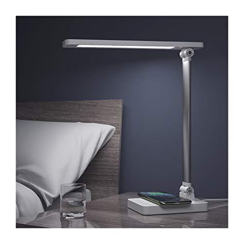 Lámpara de Escritorio Led Escritorio LED de la lámpara con el cargador inalámbrico, puerto de carga USB 5 niveles de brillo de control táctil regulable Eye-El cuidado lámpara de mesa ( Color : White )
