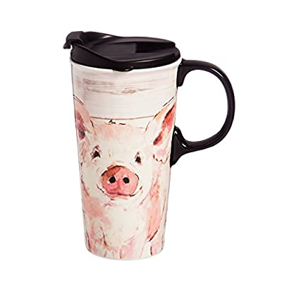 Cute Pink Pig Ceramic To Go Tumbler