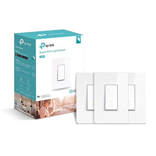 TP-LINK HS200P3 Kasa Smart WiFi Switch (3-Pack) Control Lighting from Anywhere, Easy in-Wall Installation (Single-Pole Only), No Hub Required, Works with Alexa and Google Assistant, White (Renewed)