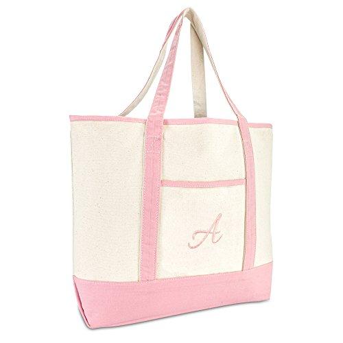 DALIX Women's Cotton Canvas Tote Bag Large Shoulder Bags Pink Monogram A