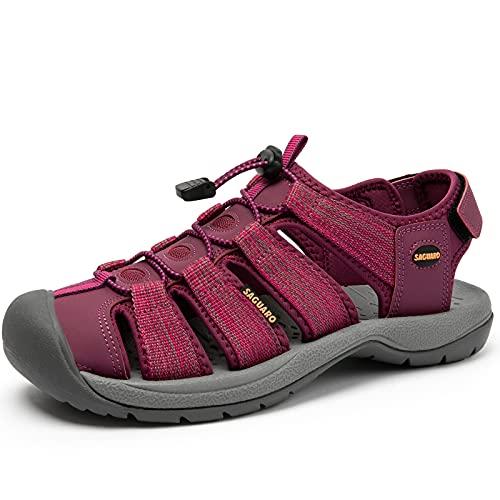 SAGUARO Sandalias Deportivas Mujer Senderismo Sandalias AL Aire Libre Punta Cerrada Zapatos Morado 37 EU