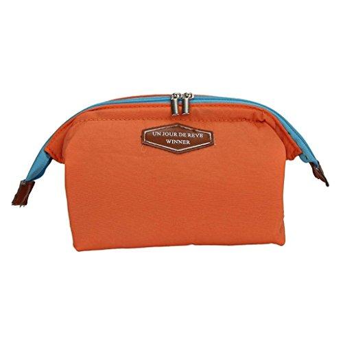 Qearly Femmes Multifonction Cosmétiques Maquillage Insert Pouch Sac de Toilette-Orange