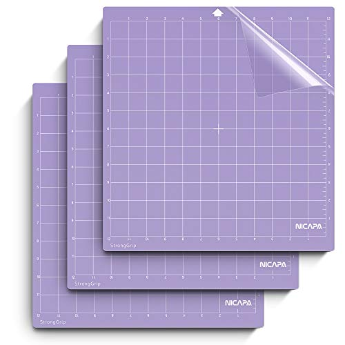 Nicapa StrongGrip Cutting Mat for Silhouette Cameo 4/3/2/1 (12x12 inch,3 Mats) Strong Adhesive Sticky Quilting Cricket Cut Mats Replacement Accessories for Silhouette Cameo
