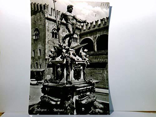 Il Nettuno - Bologna. Emilia Romagna / Italien. Brunnen : Der Neptun. AK s/w. Brunnenansicht, Gebäude mit Zinnen, Auto