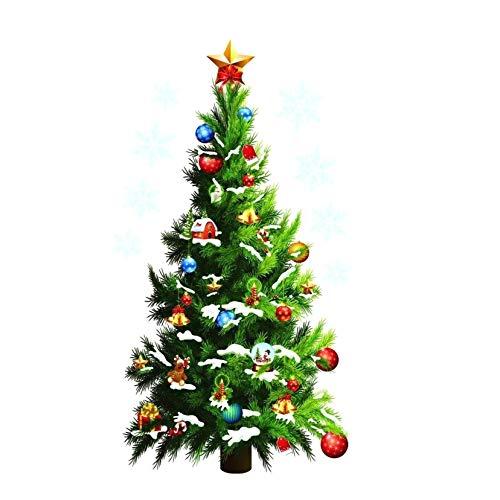 SALAKA Vinyl Wandaufkleber Weihnachtsbaum Wandtattoo Weihnachtsstern Schneeflocke Geschenke Wandtattoo Wohnkultur Wandtattoo