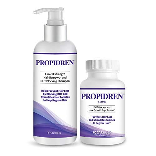 Propidren Combo Pack - DHT Blocker & Hair Growth Supplement (1 Bottle, 60 Count) & Shampoo (1 Bottle, 8 Ounces) to Prevent & Stop Hair Loss & Regrow Hair. Proprietary Hair Regrowth Treatment