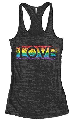 Threadrock Women's Gay Pride Rainbow Love Burnout Racerback Tank Top L Black