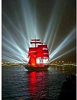 大人のための1000ピースのジグソーパズル家族のためのパズルセット-赤い帆船木製パズル教育ゲーム子供のためのチャレンジパズル子供-50x75cm