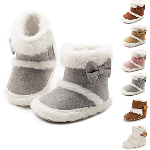 Isbasic Infant Baby Premium Buttons Snow Boots Anti-Skid Rubber Sole for Toddler Boys Girls Winter Warm Crib Shoes(ZY0229 Grey,3)