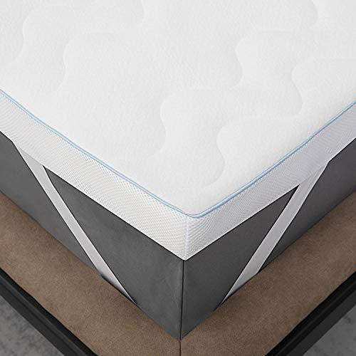 Bedsure Surmatelas 140 x 190 cm Memoire de Forme - surMatelas 140x190 pour Adulte Ergonomique de 7cm Blanc Respirant et Ferme avec Housse Amovible et Lavable