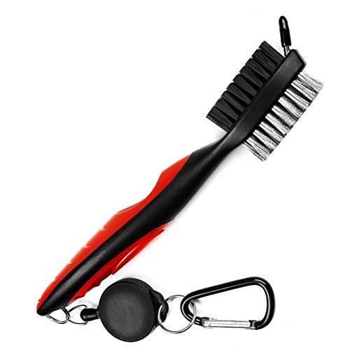 Golfschläger-Reinigungsbürste und Rillenreiniger mit einziehbarem Clip, ausziehbar 60 cm, Messing, ergonomisches Design, leicht an Golftasche zu befestigen (rot)