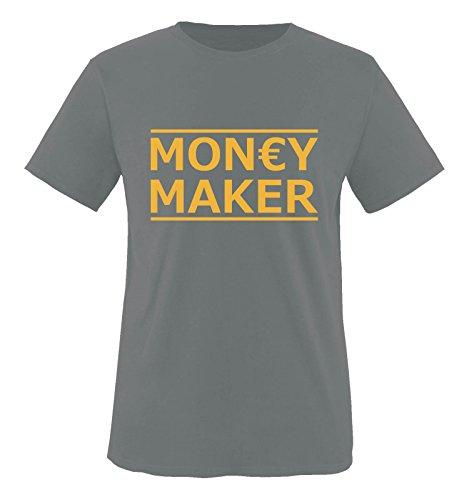 Comedy Shirts - Money Maker - Herren T-Shirt - Dunkelgrau/Gelb Gr. M
