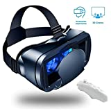 LPWCA Occhiali VR,Visori Realtà Virtuale per Cellulari Universale con Obiettivo Regolabile E Telecomando Bluetooth,Compatibile con da Smartphone da 5,0 A 7,0 Pollici