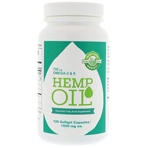 Manitoba Harvest Hemp Seed Oil Softgels, 2,475mg of Plant Based Omegas 3,6 & 9 per serving including GLA, Fish Oil Alternative, 120ct (pack of 1)