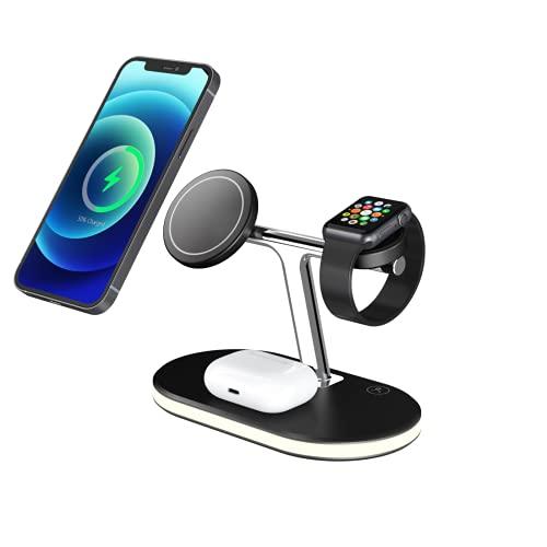 3 en 1 Cargador inalámbrico magnético, estación de carga rápida de 15 vatios, soporte de teléfono de escritorio de carga inalámbrica rápida para relojes de auriculares IPHONE 12 Pro Max