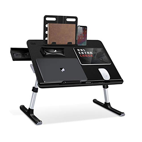 Laptop Bed Tray Table, SAIJI Adjustable Laptop Desk for Bed, Foldable Laptop Stand with Storage...