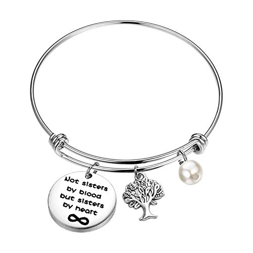 MYOSPARK Not Sisters by Blood But Sisters by Heart Forever Bracelet with Family Tree Charm Sister Jewelry Gift for Sister in Law BFF (Sisters by Heart Bracelet)