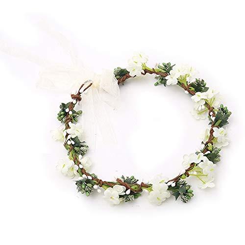 Flor Corona Diadema, Novia Corona Boda Halo Guirnalda, Diadema de flores para Dama de Honor con Cinta Ajustable, para Fotografía de Viajes de Luna de Miel, Ceremonia de Boda Nupcial (Verde y Blanco)