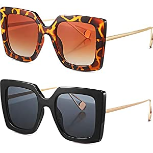 Frienda 2 Pares Gafas de Sol Cuadradas de Gran Tamaño Gafas de Montura Cuadrada de Moda de Mujer | DeHippies.com