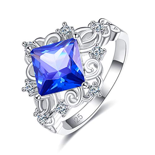 Emsione 925 Sterling Silver Plated Created Tanzanite Radiant Cut CZ with Celtic Knot Ring Wedding Engagement Eternity Band Ring for Women Size 9 Color Blue
