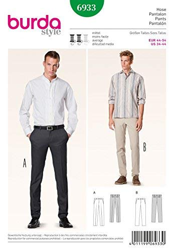Burda Men's Sewing Pattern 6933 - Trousers Pants Sizes: 34-44