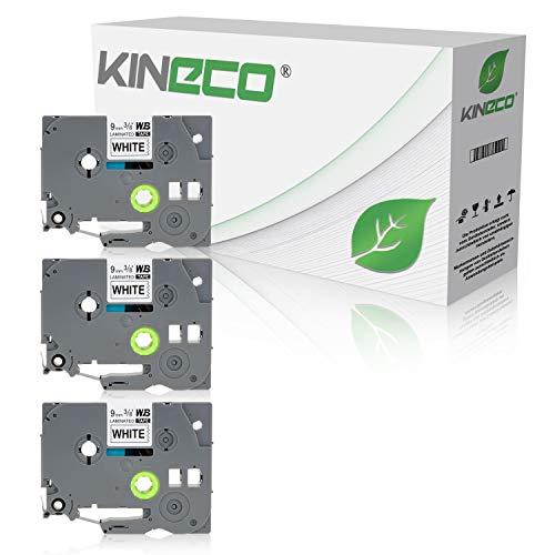 Kineco 3 Schriftbänder kompatibel für Brother TZE-221 TZ-221 9mm/8m - Schwarz auf Weiß P-Touch 1010 D400 D600 H100L H100r
