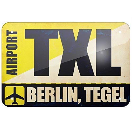 prz0vprz0v Metalen bord Airportcode TXL Berlijn, Tegel, Kleine 12x18 Inch Metalen Tin Sings