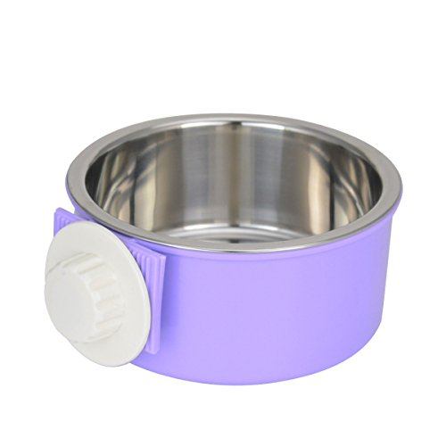 ShareWe Pet Hanging Bowl 2-in-1 Removable Stainless Steel Dog Crate Bowl Food Water Hanging Bowl for Dog Cat Bird Rabbit Hamster Ferret (Purple)