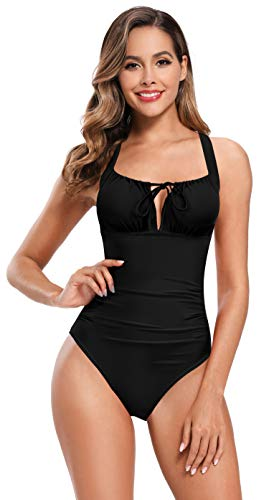 SHEKINI Damen Retro Einteiliger Bikini Verstellbare Kordel Dekolleté Monokini Raffung Sexy Rückenfrei Schwimmzug High Waist Bauchweg Badeanzug für Frauen (L, Schwarz)