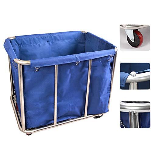 HH- Vagn tunga rullhjul vagn för smutsiga kläder/handdukar/lakan, tvätt korg sortering, rostfritt stål hushållning vagn
