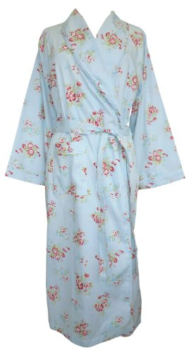Greta Cotton Blue & Red Rose Robe by The Irish Linen Store