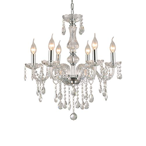 6-Arm Lights Crystal Chandelier, 102 x 57cm Transparent Droplet Ceiling Light, Crystal Glass Chrome Pendant Lighting for Living Room, Dining Room, Hallway, Stairway, Lounge, Club