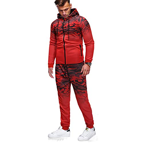 Gradiente para hombre del chándal con capucha Set Top jogging Bottoms Joggers la gimnasia del deporte del juego de sudor, los hombres de la cremallera otoño capucha pantalones pantalones,Rojo,M