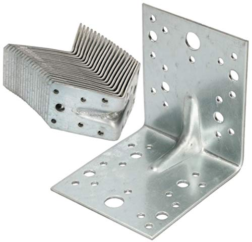 KOTARBAU® Winkelverbinder 105x105x90mm mit Rippe Sicke Lochwinkel Bauwinkel Holzverbinder Balkenwinkel Verbinder Top -Qualität Silber Winkel 25 Stk.