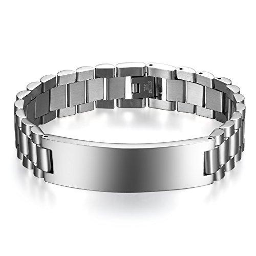 JewelryWe Schmuck Herren Armband Edelstahl Glänzend Poliert Armreif Armkette Uhrenarmband Geschenk Silber mit kostenlos Gravur