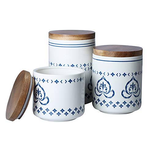 Sunddo Ceramic Canister Set with Bamboo Lid Perfect Coffee Tea Food Storage Candy Sugar Canisters - Modern Design Porcelain Jar Kitchen ContainerGift for WomenRound Blue Pattern Set of 3