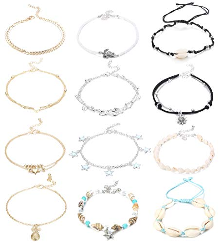 Jstyle 12Pcs Handmade Starfish Turtle Anklet Bracelets for Women Girls Adjustable Charm Anklets Boho Ankle Chains Foot Jewelry Set