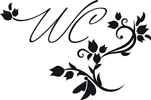 GRAZDesign 780038_57x38_070 Tür-Aufkleber WC Toilette Blumen Ranken Sprüche | Bad-Tattoo als Tür-Schild - selbstklebend (38x57cm // 070 schwarz)