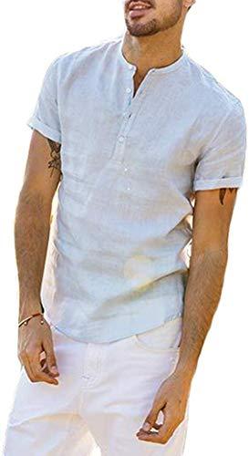 Loalirando Camicia da Uomo Manica Corta Camicia Uomo Slim Fit Magliette Uomo Tinta Unita Cotone Lino(M-3XL), M, Blu