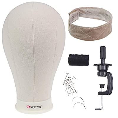 Dorsanee 21-24 Inch Canvas Block Wig Head Poly Manikin Head for Making Wigs Professional Mannequin Head with Clamp Stand