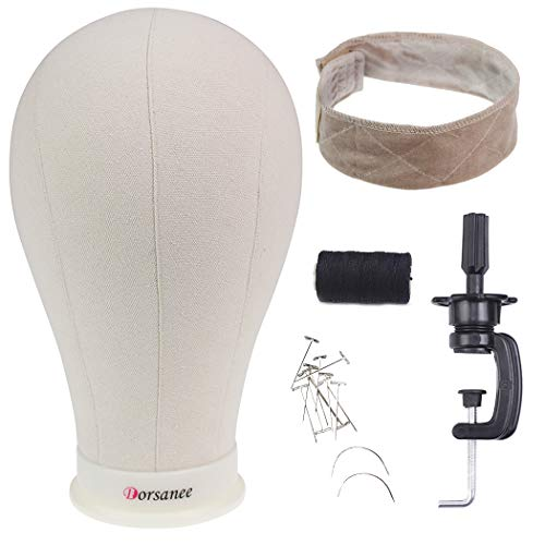 Canvas Block Head Wig Head Set Poly Manikin Mannequin Head with Clamp Display Styling Wig Making Head with Mount Hole (Canvas Head+Head Stand+Wig Grip+T Pins+C Needle+Thread), 23 Inch