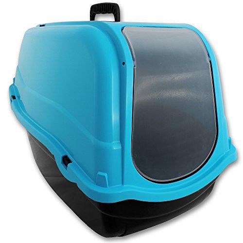 TW24 XXL Katzenklo mit Farbwahl Schalentoilette Katzentoilette mit Deckel Filter große Schwingtür (Blau)