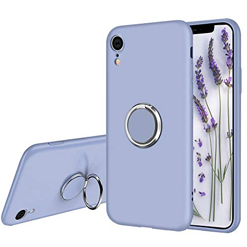 Ownest Compatible with iPhone XR Case Liquid Silicone with Built-in 360 Rotatable Ring Kickstand Fit Magnetic Car Mount Slim Silicone Shockproof Drop Protective for iPhone XR(6.1'')-(Lavender Gray-4)