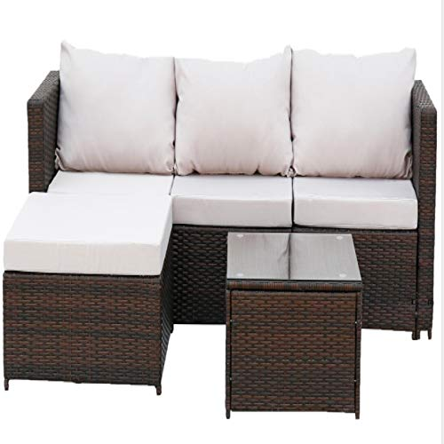 Winne Outdoor Rattan Furniture Sofa Cover Lounge Chair Cushion Patio Garden Two-Piece Set
