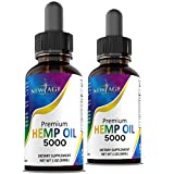 5000 Hemp Oil Extract for Pain, Stress Relief 2-Pack - Hemp Extract - Grown & Made in USA - Natural Hemp Drops - Helps with Sleep, Skin & Hair