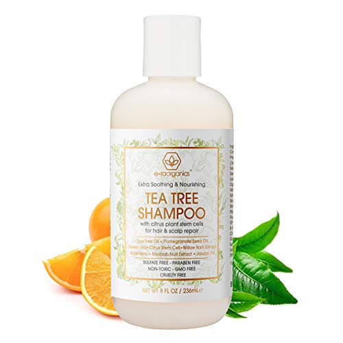 Era Organics Tea Tree Oil Shampoo - Premium Sulfate-Free Moisturizing Shampoo to Hydrate Dry Hair & Soothe Flaking Itchy Scalp with Plant Stem Cell Technology for Dry Itchy Scalp 8oz.
