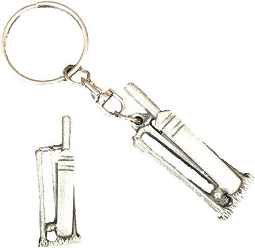 Smartbadge Kricket Stümpfe Schlüsselanhänger und Anstecker Verpackt Geschenkset Handgefertigt in Zinn+59mm Knöpfe Abzeichen