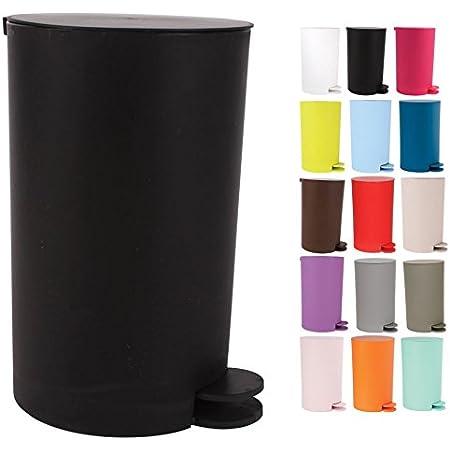 MSV Poubelle à cosmétiques Osaki avec Récipient intérieur Amovible Salle de Bains Poubelle à pédale Boîte à ordures – 3 litres - Noir